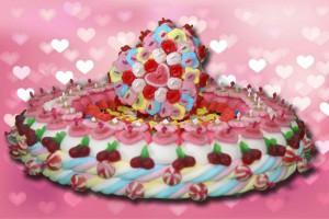 gateau cœur en bonbons
