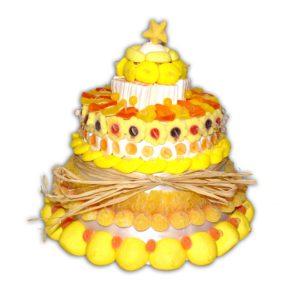 gateau bonbon jaune et blanc
